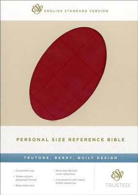 ESV Personal Size Reference Bible, TruTone, Berry, Quilt Design  -