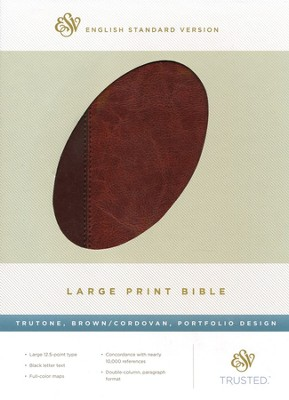 ESV Large-Print Bible--soft leather-look, brown/cordovan  -