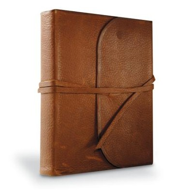 ESV Journaling Bible, Single Column Genuine Natural Leather Brown (Flap with Strap)  -
