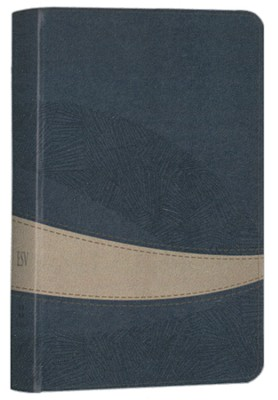 ESV Large Print Compact Bible (TruTone, Navy/Taupe, Curve Design)  -