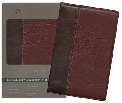 ESV Vintage Thinline Bible (Cowhide, Brown/Burgundy, Vintage Design)  -