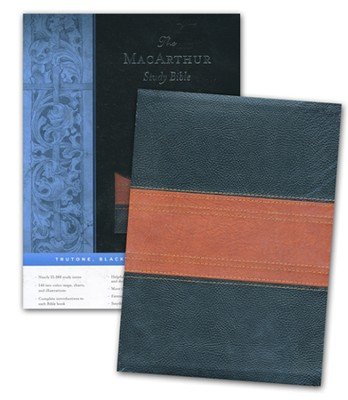 ESV Macarthur Study Bible Soft leather-look black/tan with trail design  -