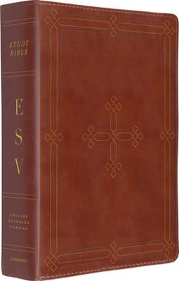 ESV Study Bible, Brown imitation leather with engraved cross design  -