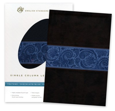 ESV Single Column Legacy Bible Chocolate/blue soft leather-look with paisley design  -