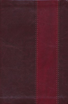 ESV Single Column Heritage Bible--soft leather-look, brown/burgundy with band design  -