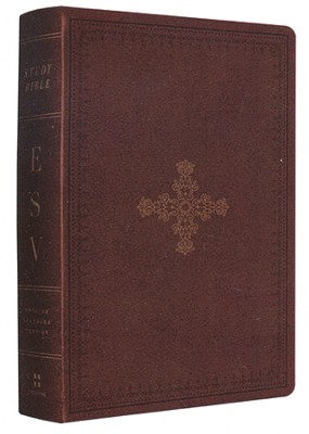 ESV Personal Size Study Bible--soft leather-look, deep brown with ornate cross design  -