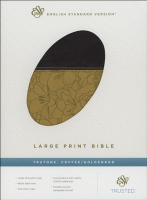 ESV Large Print Bible--soft leather-look, coffee with gold band design  -