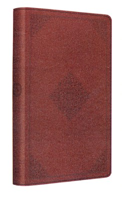 ESV Large-Print Thinline Reference Bible--soft leather-look, tan with ornament design   -