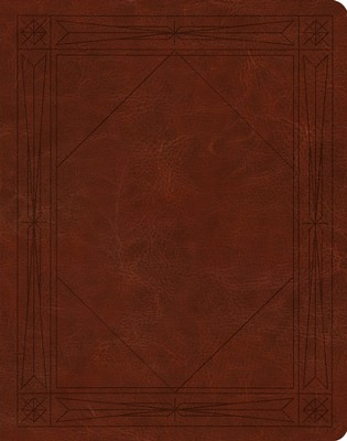 ESV Single-Column Journaling Bible--soft leather-look, brown with window design   -