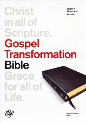 ESV Gospel Transformation Bible--genuine leather, black   -