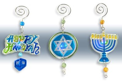 Lighted Hanukkah Ornaments, Set of 3   -