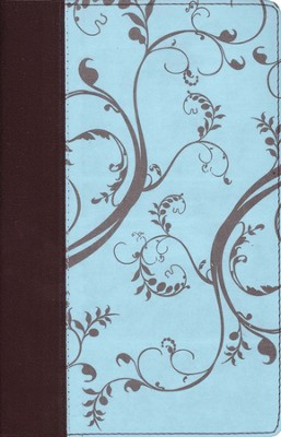 The NKJV Woman's Study Bible, Personal Size - Chocolate/Light Blue Leather/Floral Cloth - Imperfectly Imprinted Bibles  -