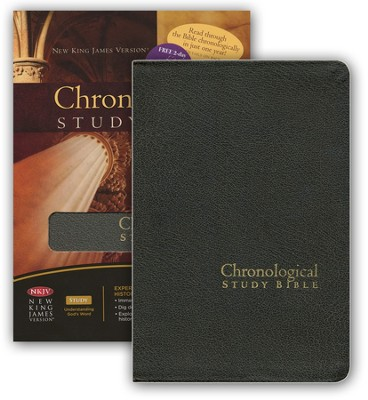 The NKJV Chronological Study Bible, Distressed Charcoal Bonded Leather - Slightly Imperfect  -