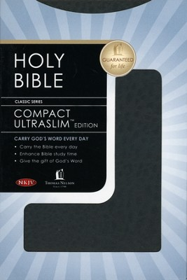 NKJV Compact Ultraslim Bible - LeatherSoft Grain Black  -