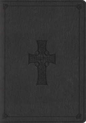 ESV Large Print Bible, TruTone, Charcoal with Celtic Cross Design  -
