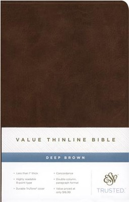 ESV Value Thinline Bible, TruTone, Deep Brown  -