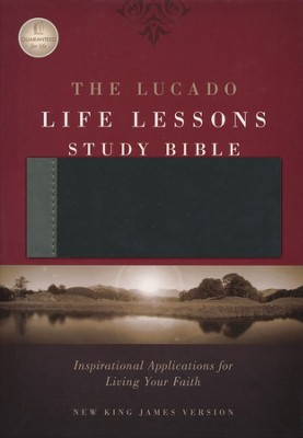 NKJV Lucado Life Lessons Study Bible, soft leather-look,  black/grey Thumb-Indexed  -