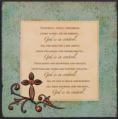 God Is In Control Plaque  -