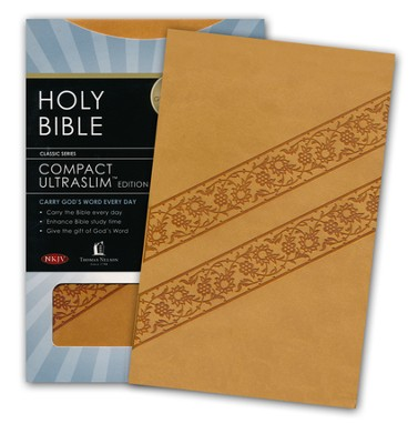 NKJV Compact Ultraslim Bible--soft leather-look, butterscotch  -