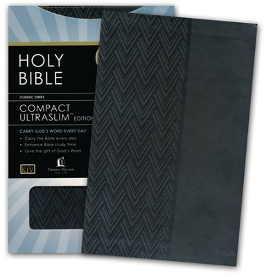 KJV Compact UltraSlim Bible--soft leather-look, charcoal  -