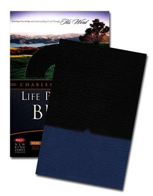 NKJV Charles F. Stanley Life Principles Bible, Leathersoft, Blue Jay and Black - Imperfectly Imprinted Bibles  -