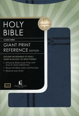 KJV Giant Print Reference Bible, Imitation Leather, Dusk Blue  -