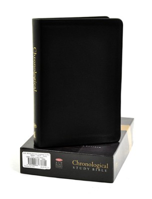 The NKJV Chronological Study Bible, Genuine Leather Black - Imperfectly Imprinted Bibles  -