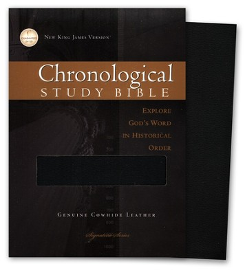 The NKJV Chronological Study Bible, Genuine Leather Black, Case of 12  -