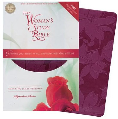 NKJV The Woman's Study Bible, Leathersoft, plum - Imperfectly Imprinted Bibles  -