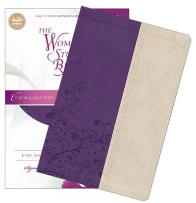 KJV The Woman's Study Bible, Leathersoft, grape/ivory indexed - Imperfectly Imprinted Bibles  -