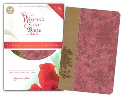 NKJV The Woman's Study Bible, Personal Size, Fabric/leathersoft, pink/caf&#233 au lait  -