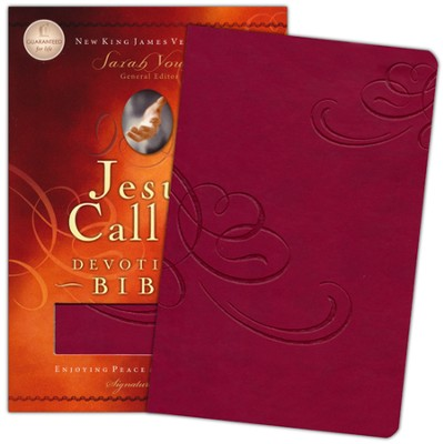 NKJV Jesus Calling Devotional Bible: Enjoying Peace in His Presence, Leathersoft Cranberry - Imperfectly Imprinted Bibles  -