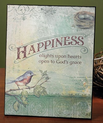 Happiness Alights on Hearts Plaque  -
