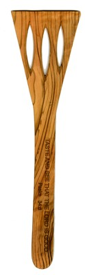 Curved Slotted Olivewood Spatula, Psalm 34:8   -