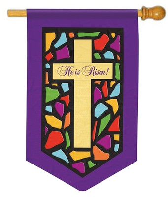 Stained Glass Cross Applique Flag, Large  -