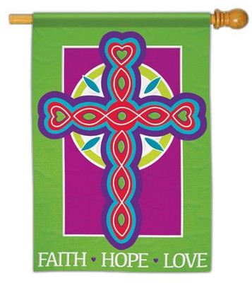 Faith Hope Love Cross Flag, Large  -