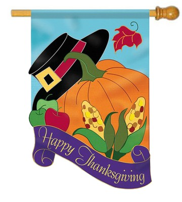 Happy Thanksgiving (hat and pumpkin), Large Applique Flag  -