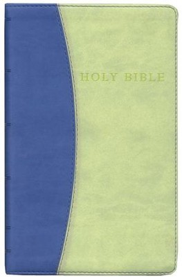 KJV Giant Print Reference Bible, Imitation Leather, Blue/Green - Imperfectly Imprinted Bibles  -