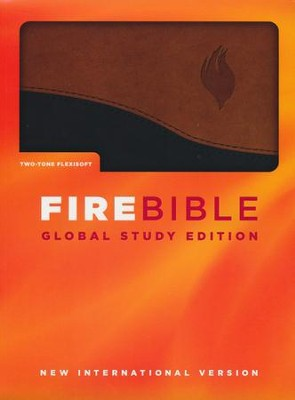 NIV Fire Bible, Global Study Edition, imitation  leather duo-tone black/tan 1984  -