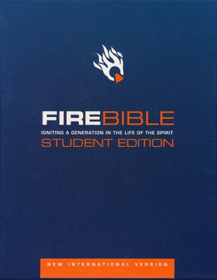 NIV Fire Bible Student Edition Bonded leather black 1984  -