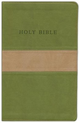 KJV Personal Size Giant Print Reference Bible, imitation leather, tan/olive - Slightly Imperfect  -