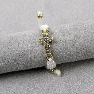 Adjustable White Ring with Gold Cross  -