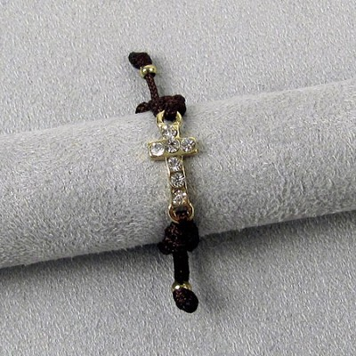 Adjustable Brown Ring with Gold Cross  -