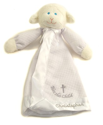 Personalized, Christening Lamb Blanket, White   -