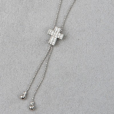 Cross Slide Necklace, Crystal Stones  -