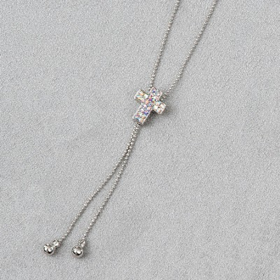 Cross Slide Necklace, Silver Stones  -