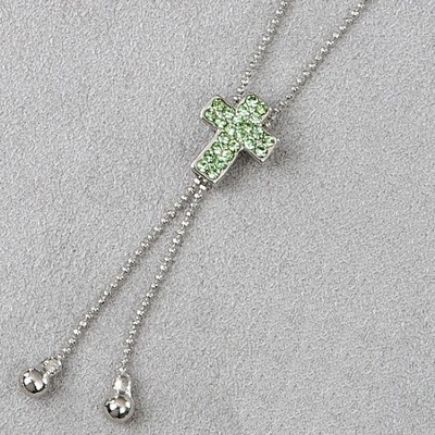 Cross Slide Necklace, Green Stones       -
