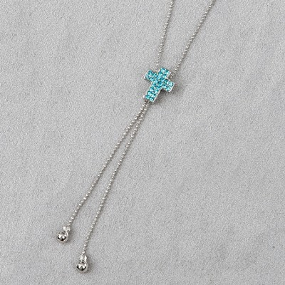 Cross Slide Necklace, Blue Stones  -