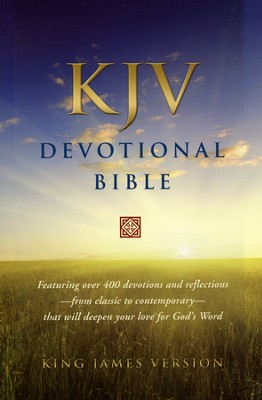 KJV Devotional Bible - Genuine Leather, Black, Red Letter   -