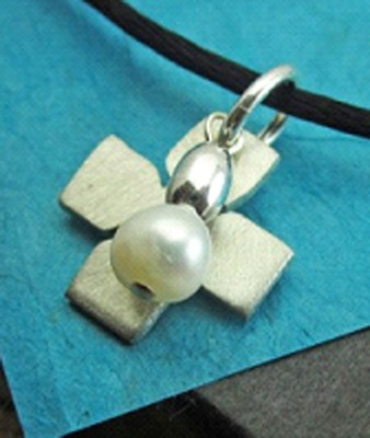 Purity Cross Necklace with Pearl  -     By: Deirdre Olson
